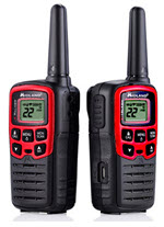 two Midland red and black walkie talkies